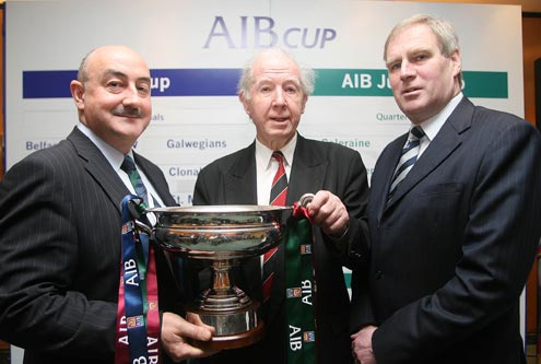 Jim Kelly Sponsorship manager AIB, Desmond Fitzgerald of Armagh RFC and Peter Boyle President IRFU