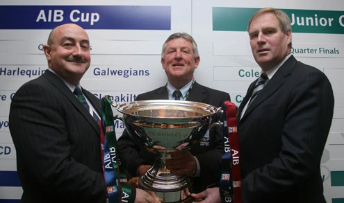 Jim Kelly Sponsorship manager AIB, John Leahy President of Shannon RFC and Peter Boyle President IRFU
