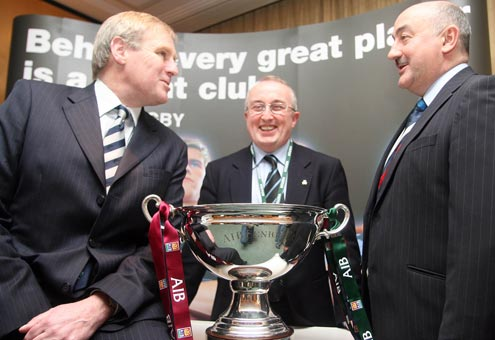 Peter Boyle President IRFU, Michael O'Hare of Galwegians RFC and Jim Kelly Sponsorship manager AIB
