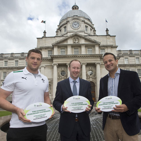 Jamie Heaslip, Rory Sheridan of Guinness and Leo Varadkar TD at the launch of the Irish RUgby Gathering