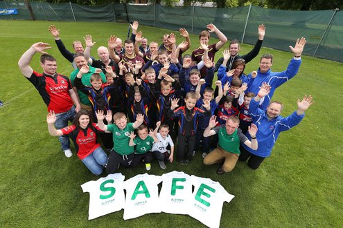 SAFE Rugby Launch with kids from An Ghaeltacht, Clontarf, New Ross and Waterford City Rugby clubs