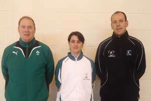 Des Ryan (IRFU), Aimi Baker and Tommy Craddock