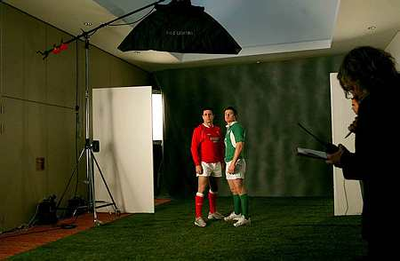 Stephen Jones, Wales' number 10 and new skipper, lines up alongside Brian O'Driscoll,