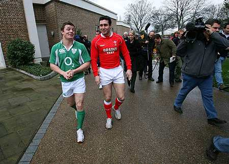 Ireland's Brian O'Driscoll shares a joke with Welsh skipper Stephen Jones