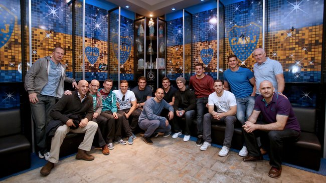 Ireland team and staff with Felipe Contepomi in the Boca Juniors dressing room