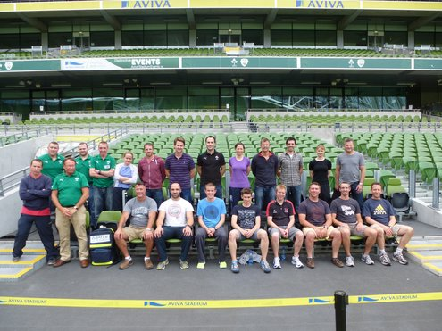 Medical staff from the Ireland Age Grade and Women's teams at the SAFE course in Aviva Stadium