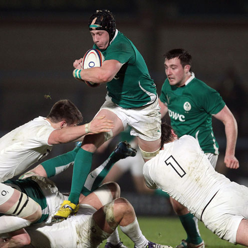 Ireland Under-20 flanker Aaron Conneely in action at Adams Park