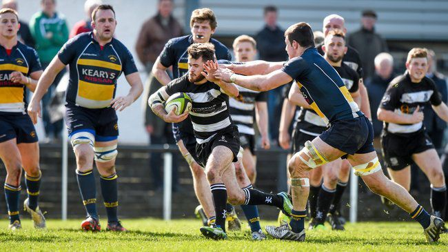 Scrum half Aaron Sheehan on the attack for Old Belvedere