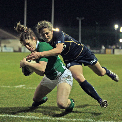 Alison Miller finished off Ireland's third try against Scotland