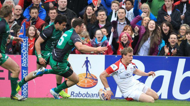 Andrew Trimble slides in for Ulster's second try