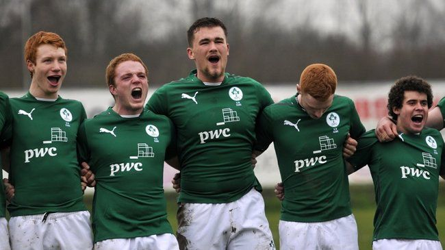 The Ireland Under-18 Clubs players at anthem time