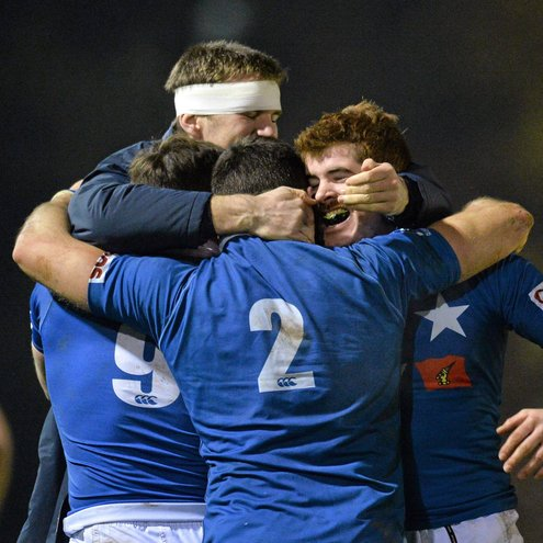 The St. Mary's College players celebrate their win