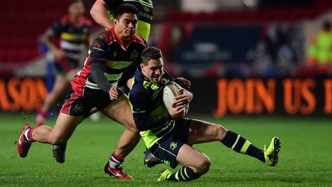 Leinster 'A' scrum half Charlie Rock in action against Bristol