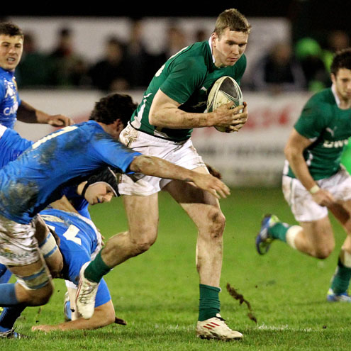 Chris Farrell in action for the Ireland Under-20s