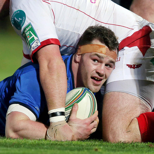 Cian Healy reacts after scoring Leinster's first try