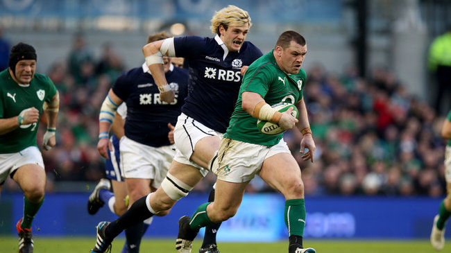 Cian Healy charges forward for Ireland