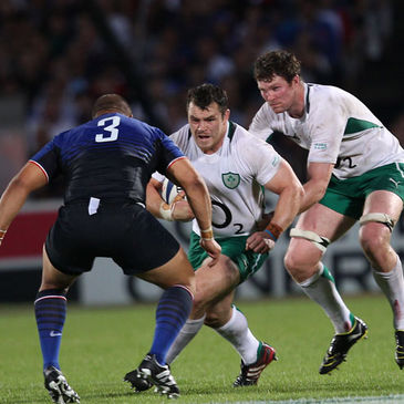 Cian Healy takes the ball on for Ireland