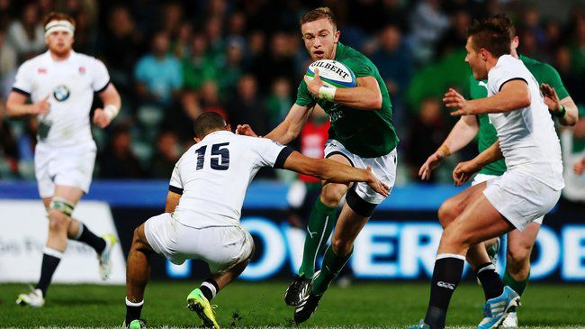 Winger Ciaran Gaffney breaks forward for Ireland
