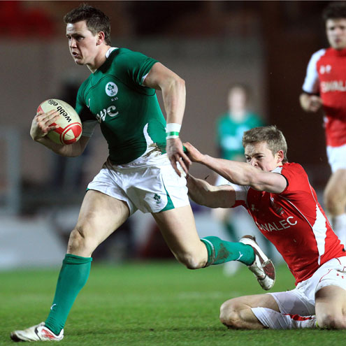Try scorer Craig Gilroy on the attack for Ireland