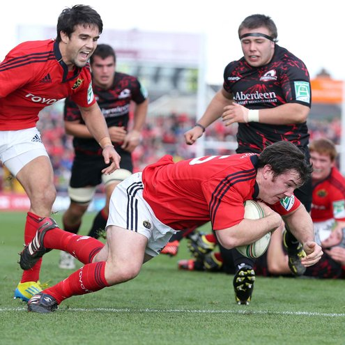 Replacement hooker Damien Varley scored Munster's fourth try