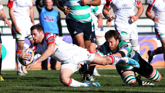 Darren Cave touched down in the 11th minute for Ulster