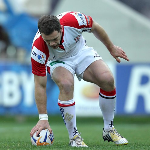 Ulster's Darren Cave dots down in Parma