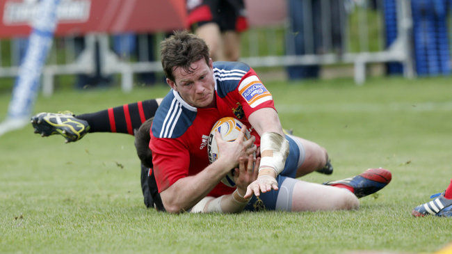 Denis Hurley touches down for Munster at Meggetland