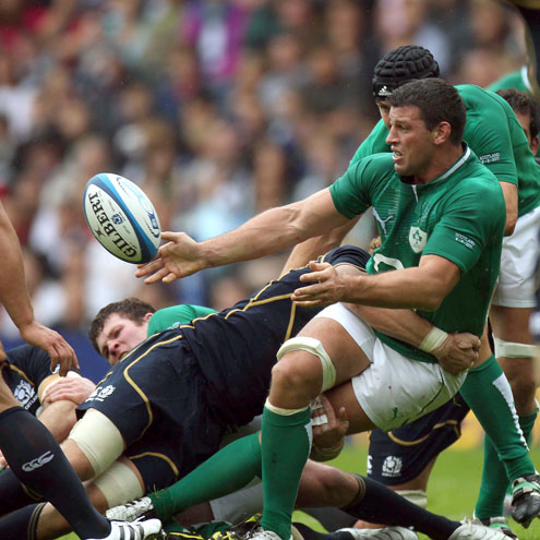 Denis Leamy in action for Ireland at Murrayfield