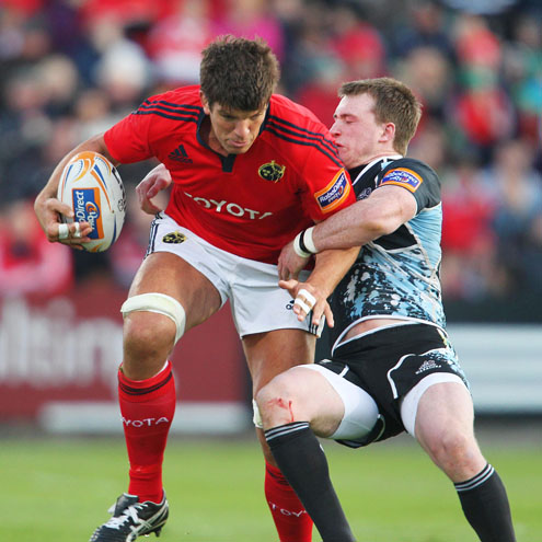 Munster lock Donncha O'Callaghan in action against Glasgow