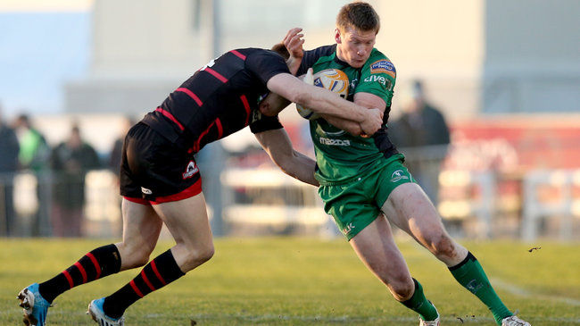 Eoin Griffin on the attack for Connacht