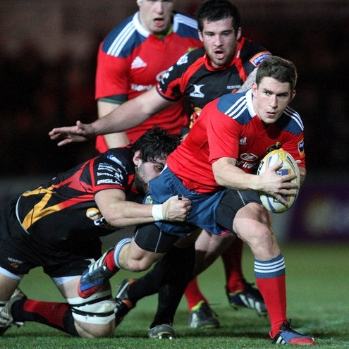 Ian Keatley in action for Munster in Newport