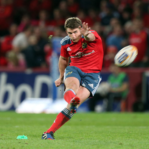Ian Keatley fires the ball towards the posts