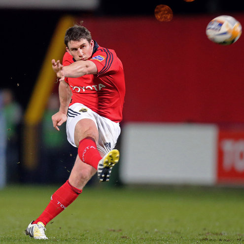 Ian Keatley kicks one of his penalties at Musgrave Park