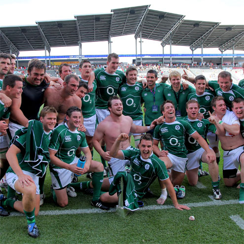 The Ireland 'A' players celebrate with the trophy