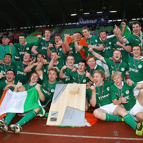 The Ireland Schools players celebrate with the trophy