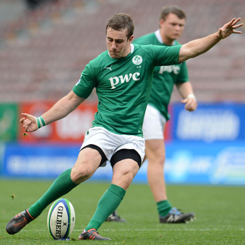 JJ Hanrahan kicks a penalty for the Ireland Under-20s