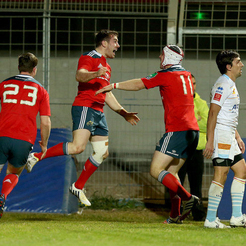 Denis Hurley and Johne Murphy celebrate with try scorer JJ Hanrahan