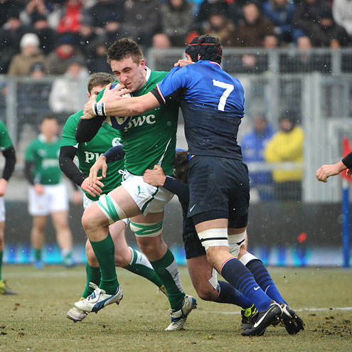 Jack Conan takes the ball on for the Ireland U-20s