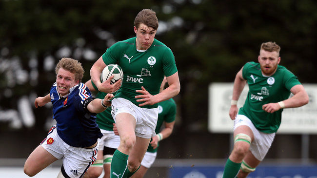 Garry Ringrose makes a break against France