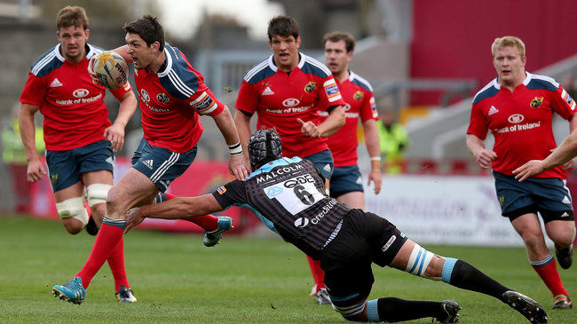 James Dowey rides a tackle from man-of-the-match Josh Strauss