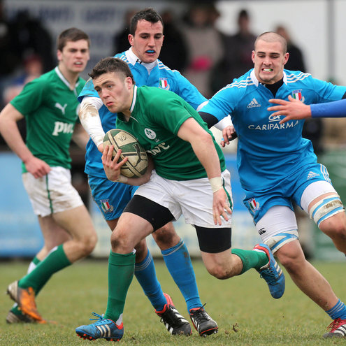 Centre James Nolan in action for the Ireland Under-18s