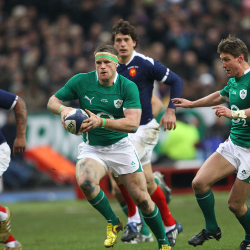 Ireland's Jamie Heaslip in action against France