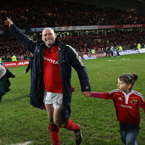 Munster's retiring prop John Hayes with his daughter Sally