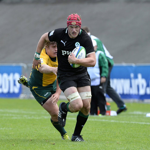 Josh van der Flier on the attack for the Ireland Under-20s