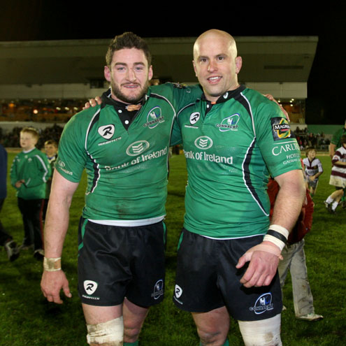Connacht's latest centurions Keith Matthews and Adrian Flavin