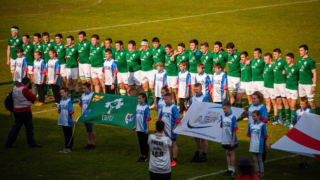 The Ireland Under-18 Schools players line up for the anthems