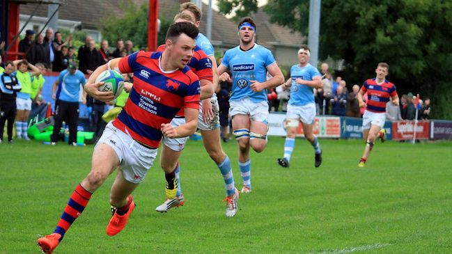 Clontarf's Matt D'Arcy on the way to the try-line