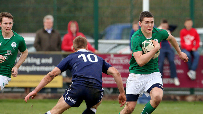Matthew Gilsenan on the attack for the Ireland Schools side