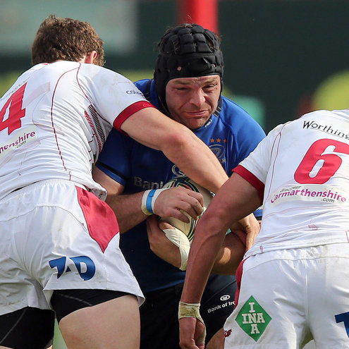 Leinster's Mike Ross in action against the Scarlets