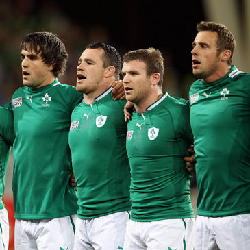 Ireland's Conor Murray, Cian Healy, Gordon D'Arcy and Tommy Bowe